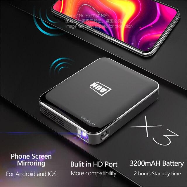 Aun mini projetor x3, espelhamento da tela do telefone do android/ios, beamer video 3d do sistema dos multimédios, portátil para o cinema 1080 p em casa. 1