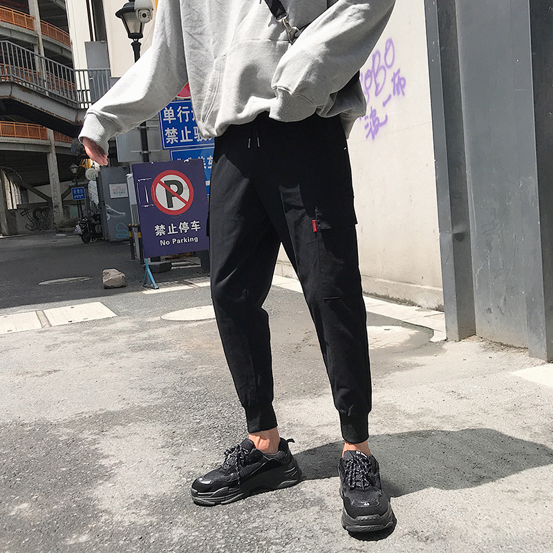 Men Popular Brand Beam Leg Bib Overall National Trends Casual Pants INS MEN'S Trousers Korean-style Trend Loose Pocket Athletic