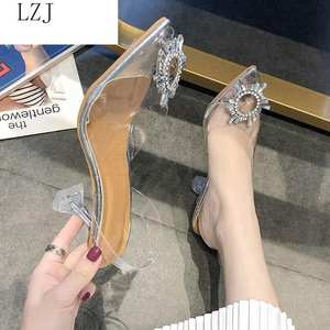 Fashion Shoes Women Pumps Pointed-Toe Wedding-Party High-Heels Transparent Luxury New