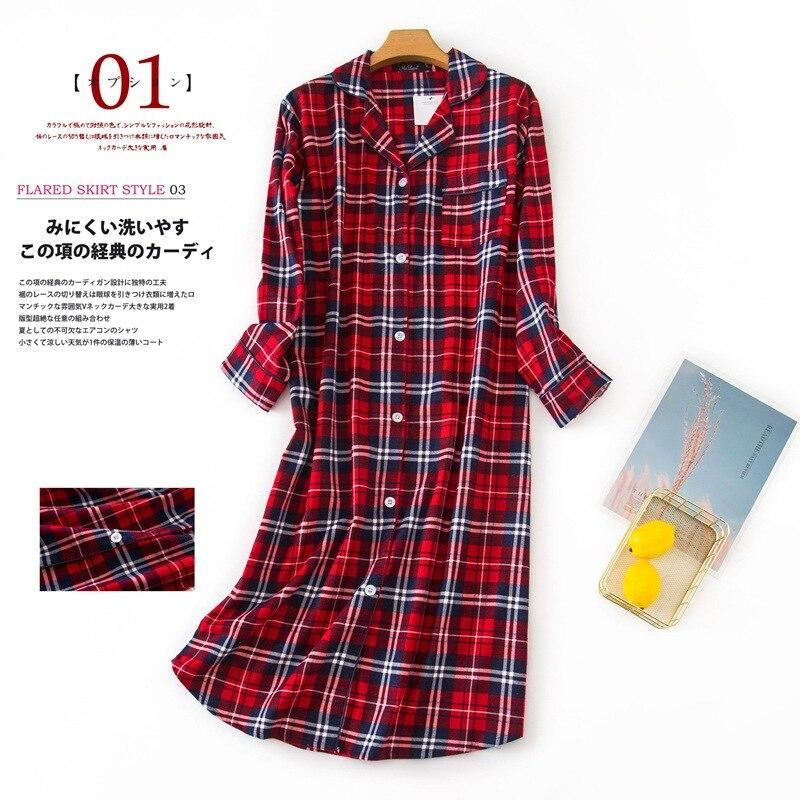 100% Cotton Extended Flannel Nightdress Women New Heart Printed Long Sleeve Sleepwear Female 2020 Autumn Winter Lady Nightwear 11