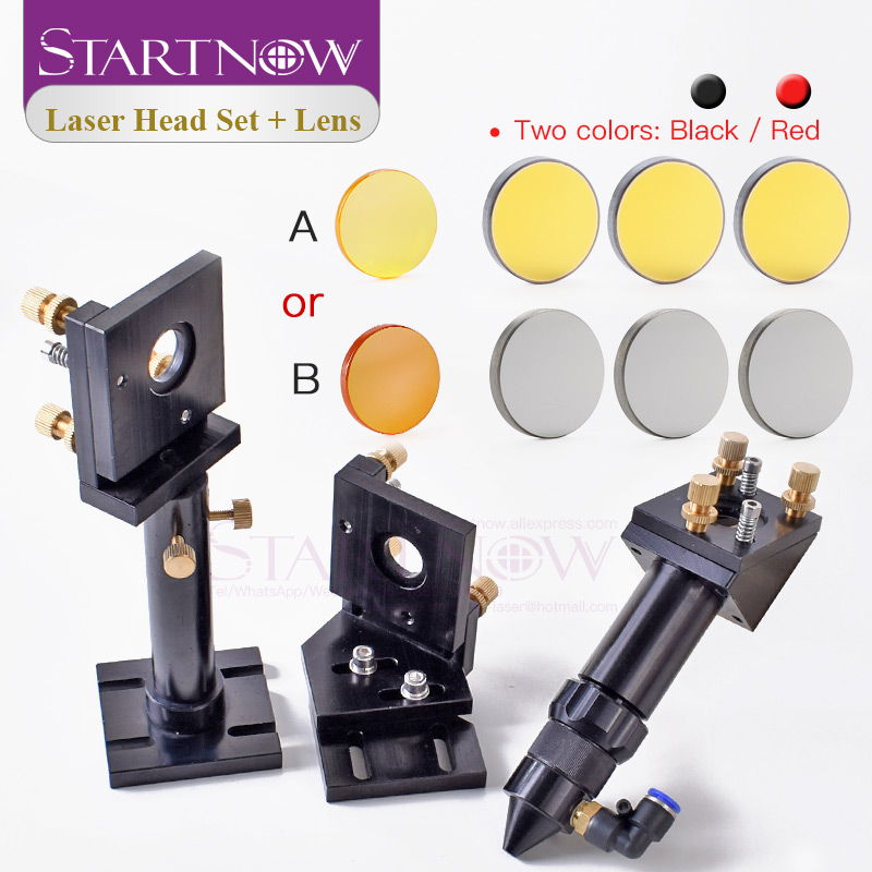 Startnow CO2 Laser Head Kit 20mm Focus Lens & 25mm Mo Si Mirror Mount Holder For DIY CNC Cutting Machine Metal Base Spare Parts