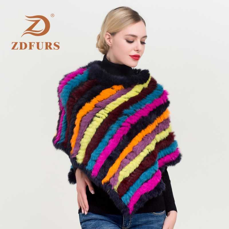 ZDFURS * חורף מכירה לוהטת סרוג טבעי ארנב פרווה פונצ 'ו אופנה ארנב פרווה צעיף אמיתי ארנב פרווה פיתולים נשים פרווה פונצ' ו