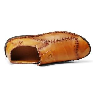 Image 5 - Nowe miękkie PU skórzane buty męskie szycia ręcznego męskie buty na co dzień Trend skórzane buty męskie miękkie dno buty outdoorowe Plus rozmiar 48