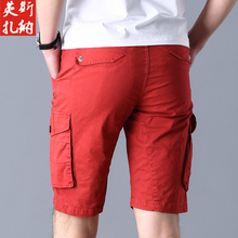 ICCZANA 2020  New Cargo shorts Men Chinese Red Fashion Mul-Pocket Homme Casual Bermuda Male Trousers Size 36 38  Men clothes
