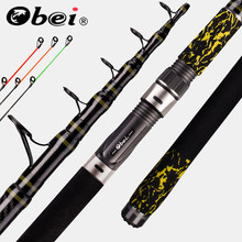 Obei carpa alimentador vara de pesca telescópica moldando 3 dicas viagem rod3.3 3.6m vara de pesca rua 20-160g pólo