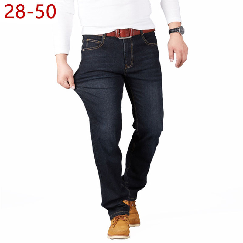 Big Size 28-50 Man Jeans High Stretch Straight Long Loose Trousers Fashion Casual Black Blue Denim Male Business Jeanswear Pants