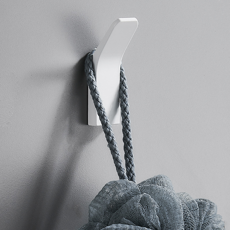 He638e2b1fbd64d158fc8b8cbc2177220P - Perforated Black-Free Clothes Hooks Alumimum White Wall Hanging for Bathroom Bedroom Modern Wall Hanger Hook Bath Accessories
