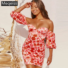 Meqeiss 2020 long sleeve floral print ruched ruffles mini dr