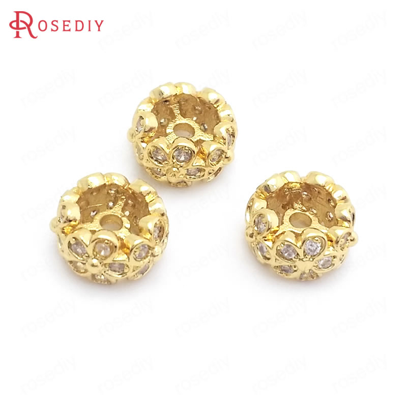 (37831)6PCS 8MM 24K Gold Color Brass With Zircon Flower Round Spacer Beads Bracelets Beads Jewelry Making Supplies Diy Findings