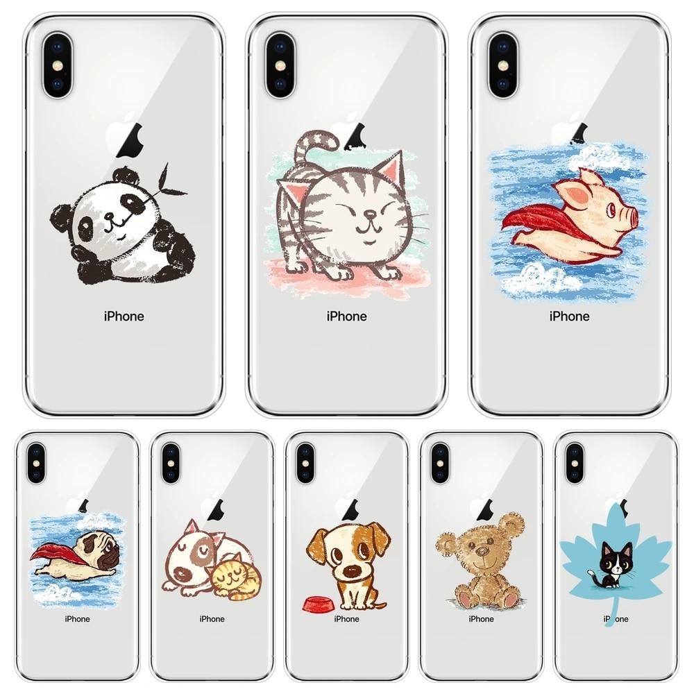 Coque arrière en Silicone pour iPhone, compatible modèles 6 S, 6 S, 7, 8, X, XR, XS Max, cochon, chat, chien, Panda