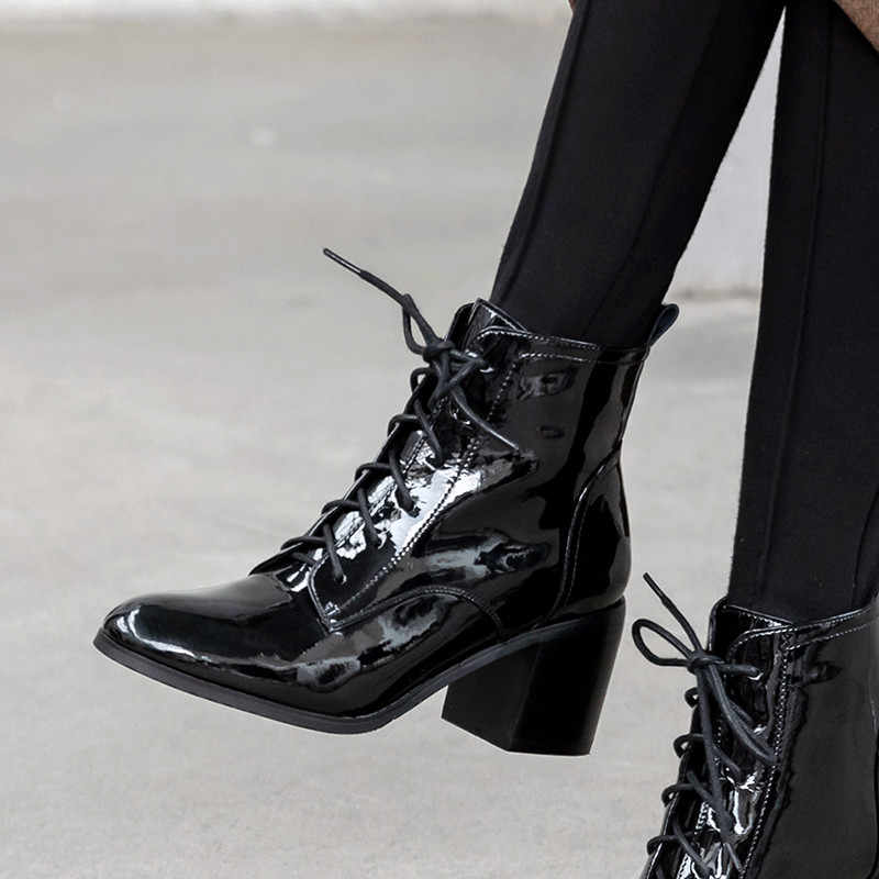 FEDONAS אלגנטי נשים אמיתי עור קרסול מגפי חורף חם קצר מגפי צ 'לסי מגפי נשף מסיבת נעלי אישה חדש כיכר עקבים