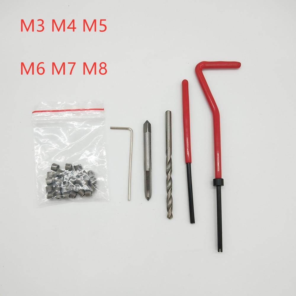 25 pçs rosca reparação recoil inserção kit ferramenta de instalação broca torneira m3 m4 m5 m6 m7 m8 helicoil carro pro conjunto broca bobina