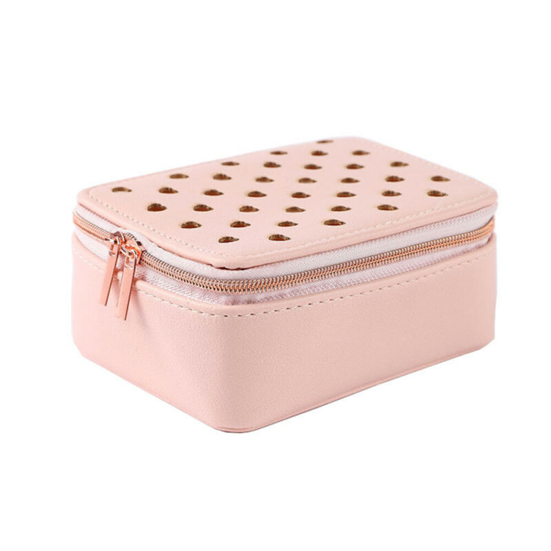 Women PU Leather Jewelry Box Love Heart Print Zipper Storage Box Ring Display Lady Case Portable Jewelry Organizer For Necklaces