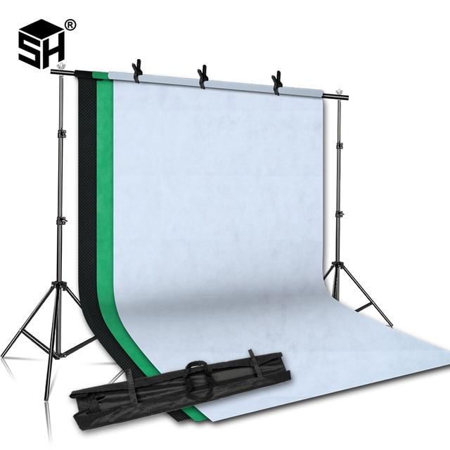 2MX2M Sfondo Del Basamento di Sostegno Del Sistema con 1.6MX3M Tessuto Non Tessuto Photography Sfondo (Bianco, Nero, Verde) per il Ritratto In Studio