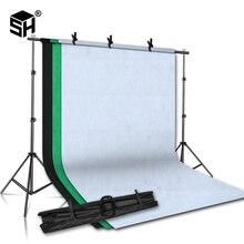 Système de Support de Support de fond 2MX2M avec toile de fond de photographie en tissu non tissé 1.6MX3M (blanc, noir, vert) pour Studio de Portrait