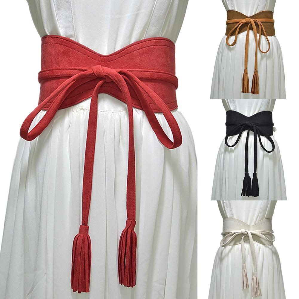 Fashion Women Solid Color Faux Leather Tassel Bow Tie Wide Belt Corset Waistband