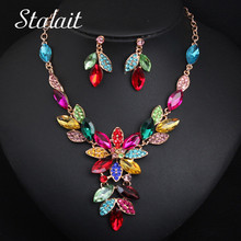 Leaves Wedding Bridal Flower Shiny Rhinestone Crystal Necklace Earrings Jewelry Set For Brides Women Luxury Jewelry недорого