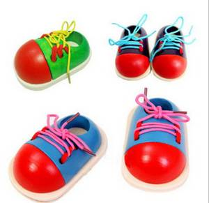 DHL 500pcs Kids Early Educational Teaching Toys Children Wooden Lace Up Shoes Coordination Craft Toys