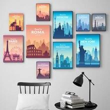 Красочный Плакат знаменитые туристические фотообои современное