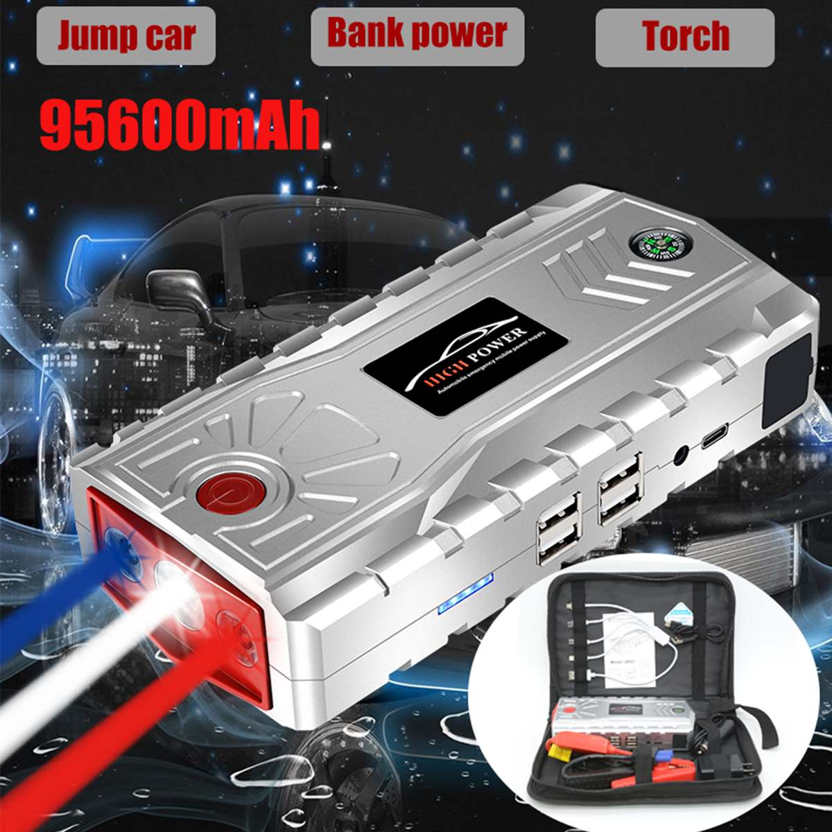 95600mAh 4USB Type-C <font><b>Car</b></font> Jump Starter Emergency <font><b>Charger</b></font> <font><b>Battery</b></font> Power Bank Pack Booster 12V 800A Starting Device image