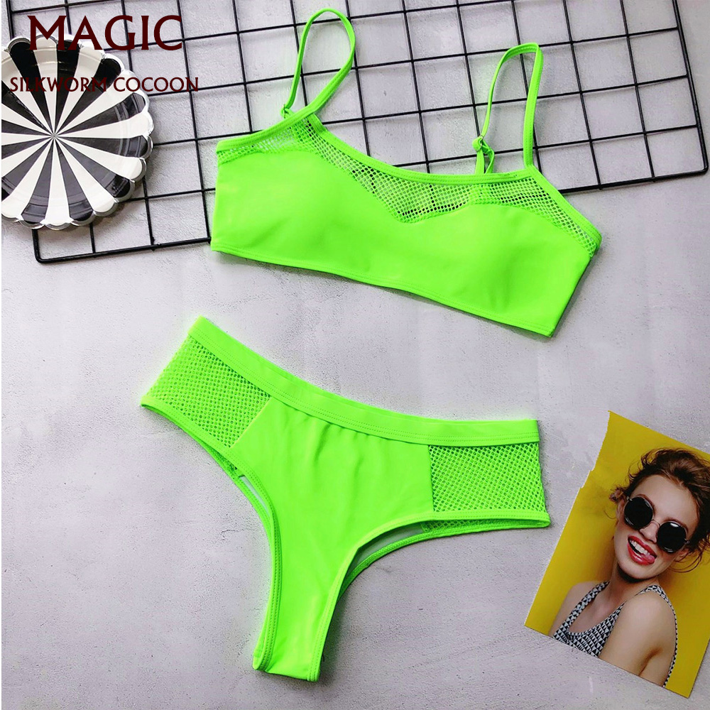 High Waist Bikini Sets Women Sexy Green Mesh Swimwear Push Up Two Pieces Swimsuits New Girl Beach Bathing Suit Swimming Suit
