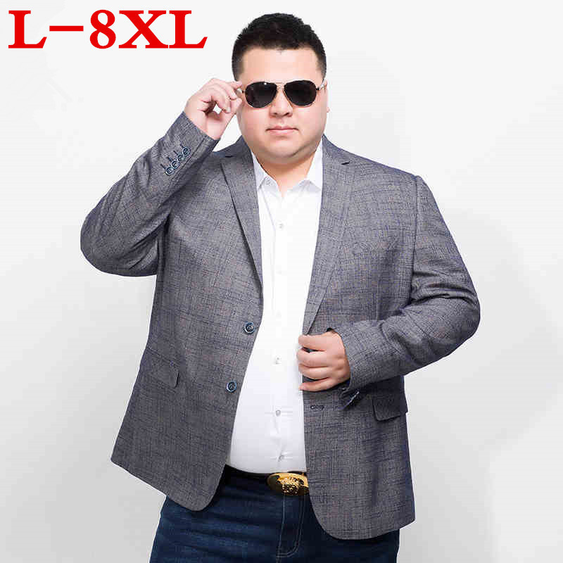 8XL 7XL Plus Size Brand Sky Blue Blazer Men Costume Veste Homme  New Arrival Mens Loose Fit Blazer Jacket Stylish Suit Men