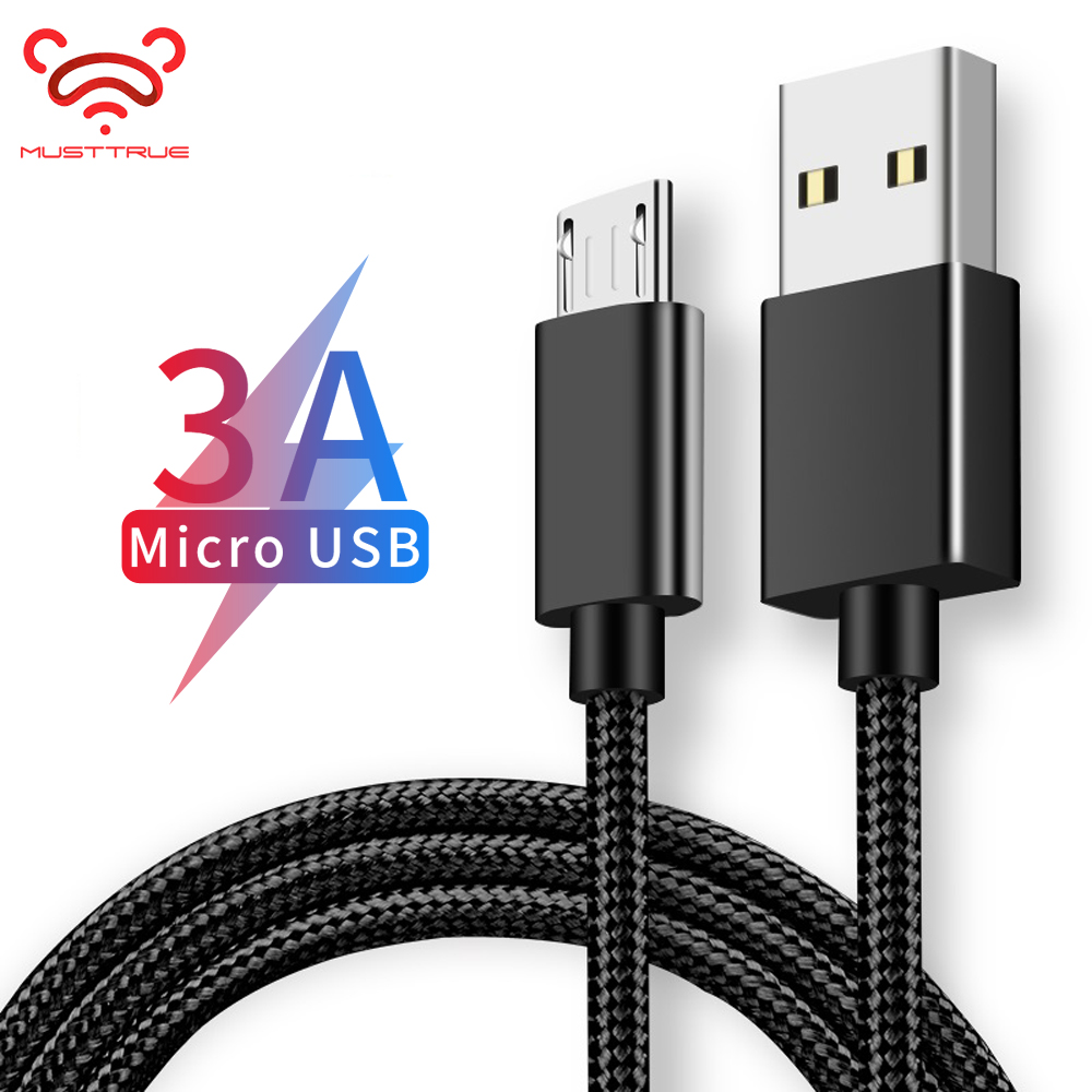 MUSTTRUE Micro USB Cable 3A Fast Data Sync Charging Cable For Samsung Huawei Xiaomi LG Andriod Microusb Mobile Phone Cables-in Mobile Phone Cables from Cellphones & Telecommunications