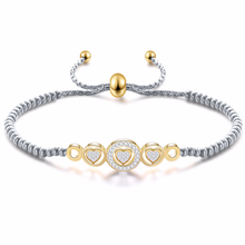 Fashion Jewelry Simple Adjustable Length Dotted Crystal Small Heart Titanium Steel Bracelet Womens