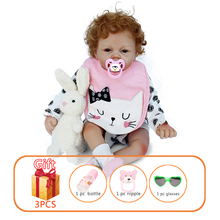 22 Inch Reborn Baby Dolls Handmade Silicone Toys Lifelike Soft Doll Toy Baby Rubber Toddlers Doll Toys For Kid 22 inch silicone baby dolls reborn baby doll lifelike newborn toys baby doll handmade toddlers dolls with clothes gift for kids