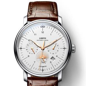 Швейцарские часы LOBINNI для мужчин, роскошные Брендовые Часы Perpetual Calender, автоматические механические мужские часы, часы из сапфировой кожи, ...