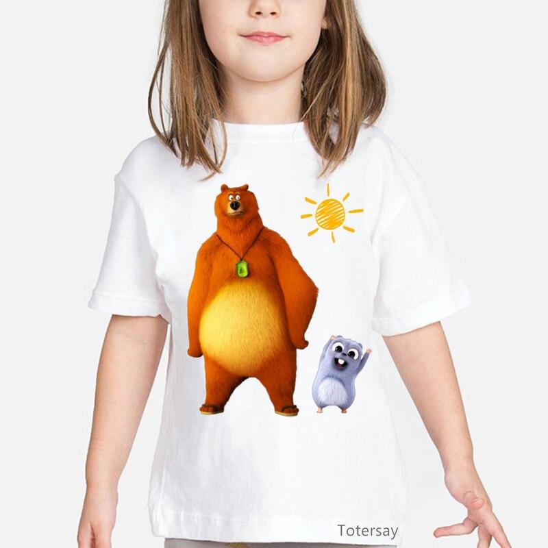 Кавайная детская одежда, забавная футболка для девочек, футболка с принтом солнечного света и мраморного медведя, футболка с принтом животн...