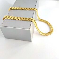 Men's 24 k Solid Fine Gold GF Necklace SQUARE CURB Link Chain Xmas Son Dad logo grave Stamp 24 carat sur le bijoux HEAVY 12MM