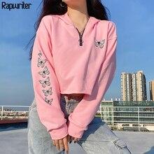 Sweet Butterfly Print Oversized Pink Cute Women's Hoodie