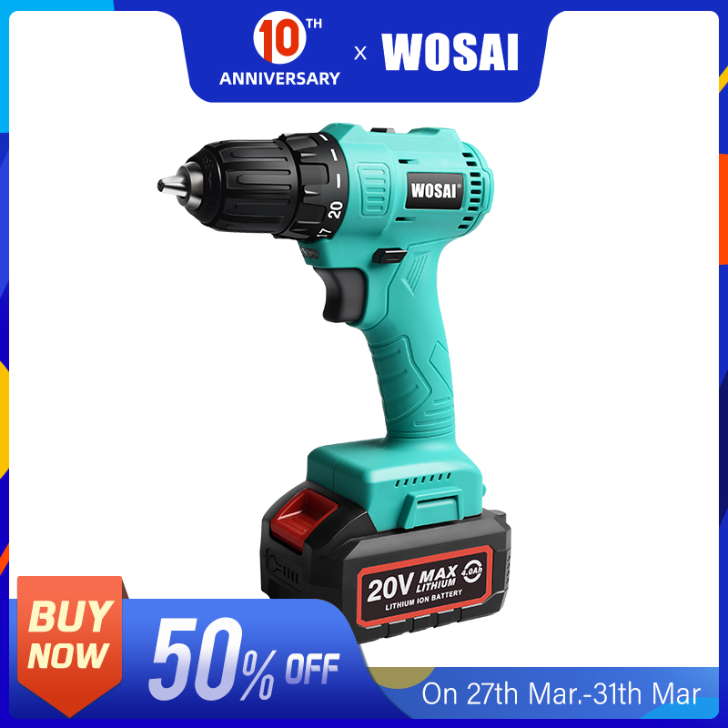 WOSAI 20V Brushless Cordless Drill Electric Screwdriver Mini Wireless Power Driver DC Lithium-Ion Battery 3/8-Inch