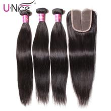 Волосы UNICE перуанский прямые волосы 3 пряди с закрытием кружева закрытие 4/5 шт швейцарское кружево человеческие волосы переплетения Волосы remy Черная пятница