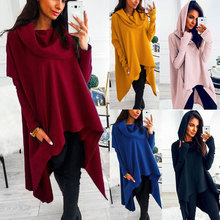 Hot Sale 2019 Autumn Winter Hooded Women Solid Color Long Sleeves Irregular Casual Drop Ship