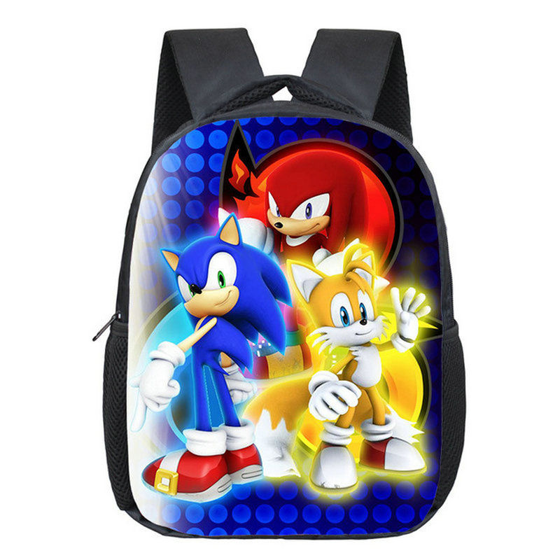 12 Inch Cartoon Sonic Children School Bags For Boy Girls Kindergarten Bags Kids School Backpack Small Toddler Bag Bookbag
