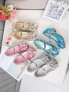 Kids Shoes Flower Glitter High-Heel Pink Silver Girls Princess Children for Casual Knot