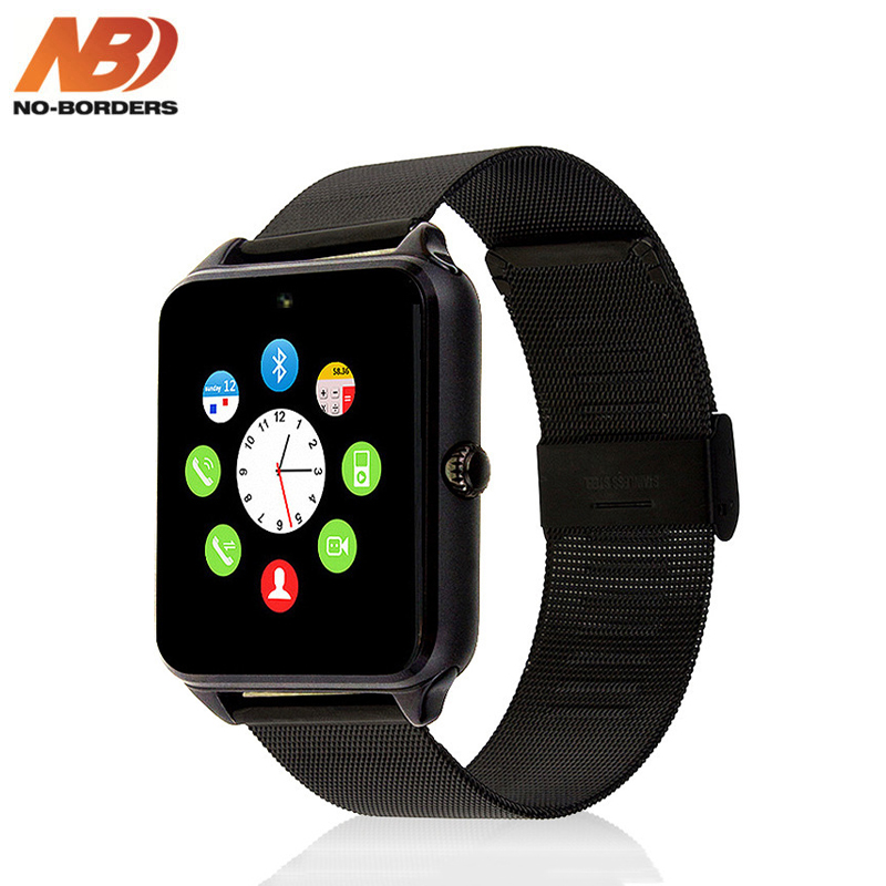 NO BORDERS GT08/Z60 Smart Watch Plus Metal Strap Bluetooth Wrist Smartwatch Support Sim TF Card For Android IOS PK S8 IWO 8|Smart Watches|   - AliExpress