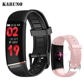 KARUNO-relojes inteligentes para Android e iOS, reloj inteligente con control del ritmo cardíaco y de la presión sanguínea y resistente al agua