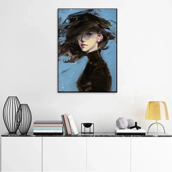 Woman on Blue Background Art Painting Printed on Canvas 5