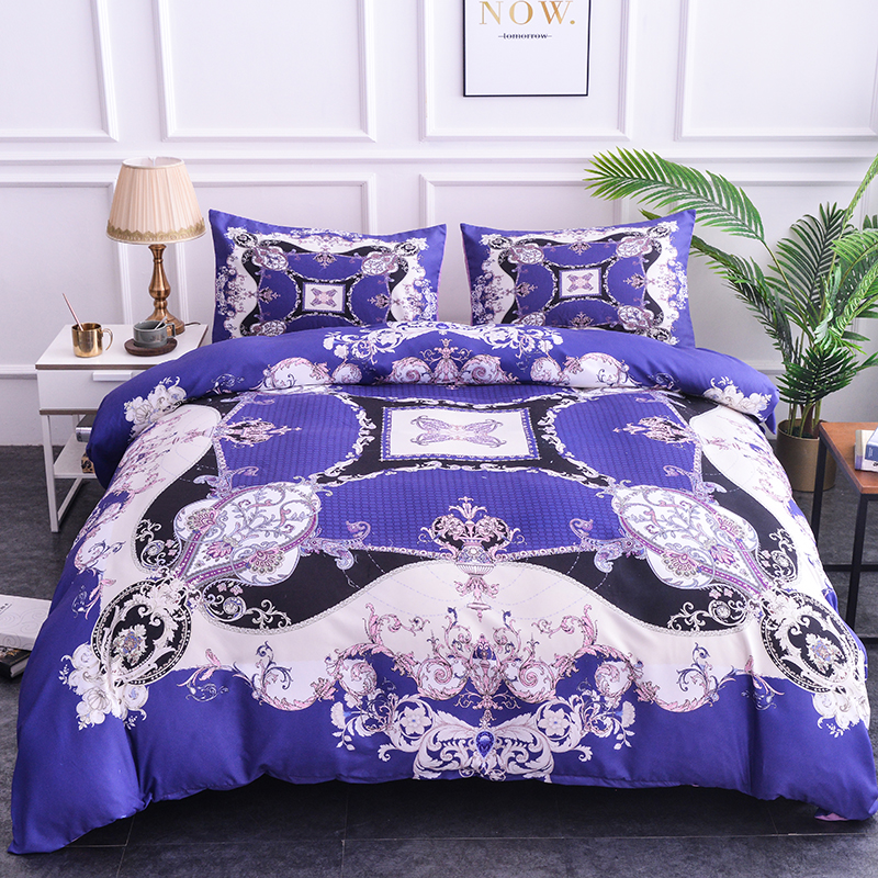 Palace Luxury Bedding Set Blue Duvet Cover Quilt Comforter Sets Pillowcase Bedding Sets Single/Twin/Full/Queen/King/Double Size