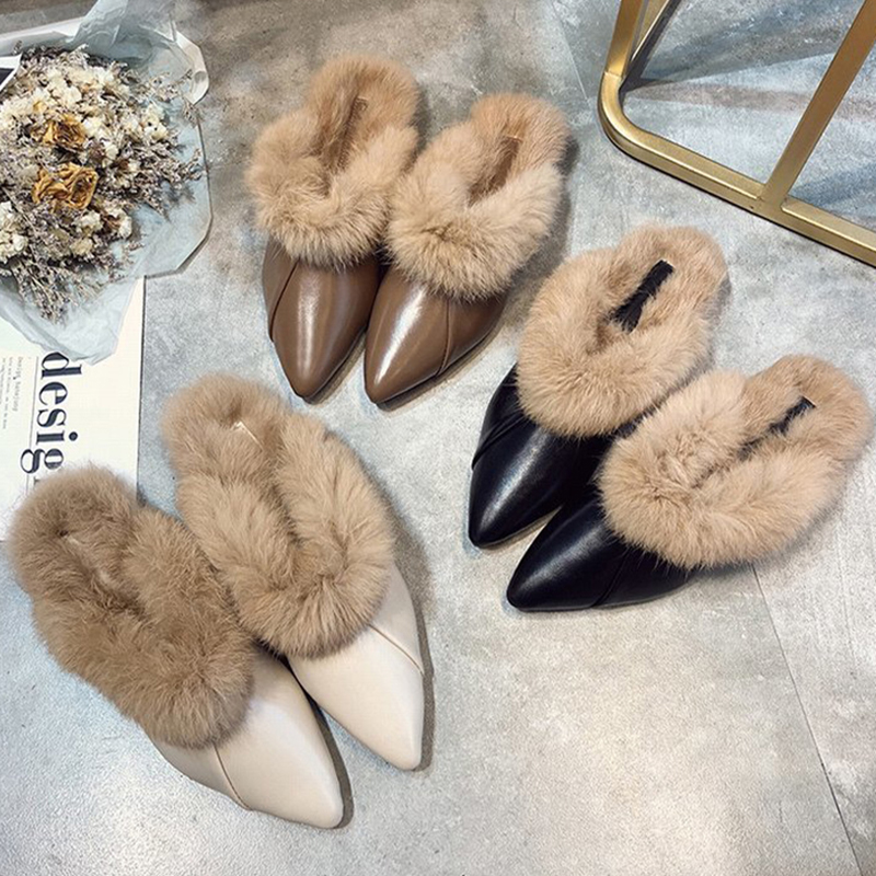 Elegant Women's Mules Woman Slippers Office Ladies Point Toe Med Heels  Female Comfortable Casual Shoes Women Fashion Slides Slippers  - AliExpress