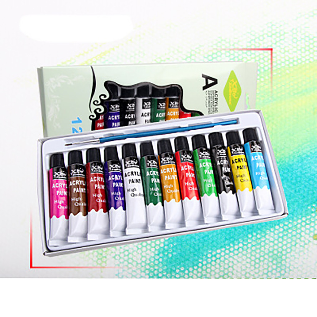 12 Ml 12 Color Professional Acrylic Paints Set Hand Painted Wall Paint Tubes Artist Draw Painting Pigment Free Brush #J