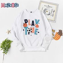 New Arrival Childrens Spring Autumn Boys Long Sleeve Sweatshirt Letter Printing Play Time Casual Pullover Kids Girls Clothing