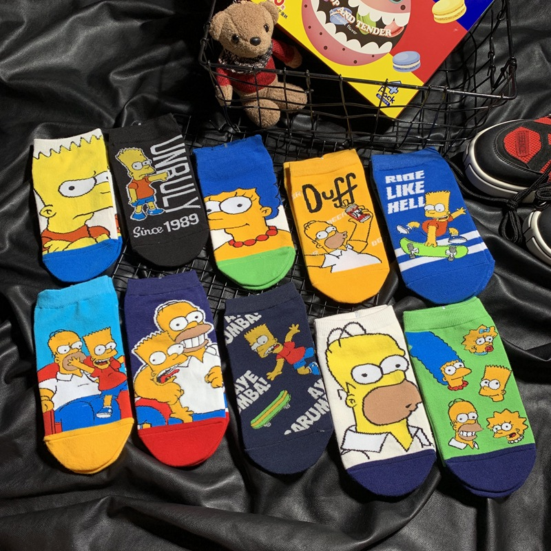 New 1Pair Simpson Family Novelty Cute Couple Socks Animal Funny Happy Socks Men Cartoon Funny Girl Cotton Socks Slippers