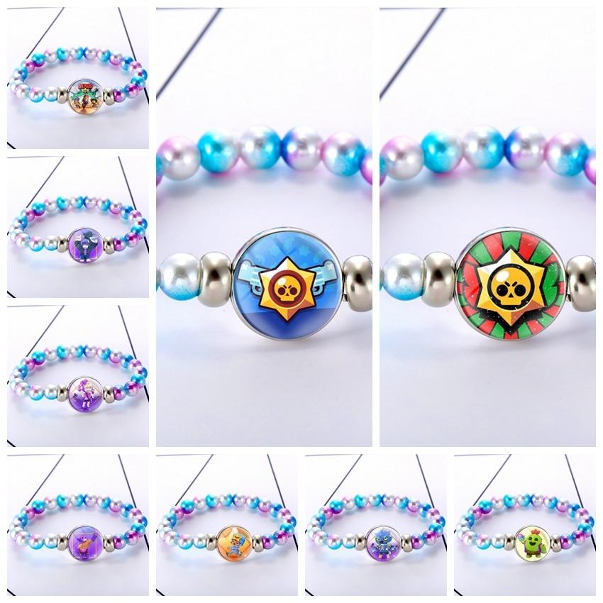 Brawling Cartoon Stars Chakra Bracelet Jewelry Multi Color Beads Natural Stone Bracelet For Men Women's Friendship Gifts