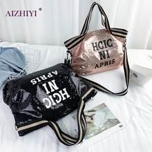 Sac à main de Shopping pour femmes, sac à bandoulière brillant de grande capacité avec lettres à paillettes pour voyage