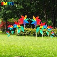 12 см пластиковая ветряная мельница, красочная ветряная мельница, детские игрушки для дома, сада, двора, Декор, уличная игрушка для детей, набор вертушек