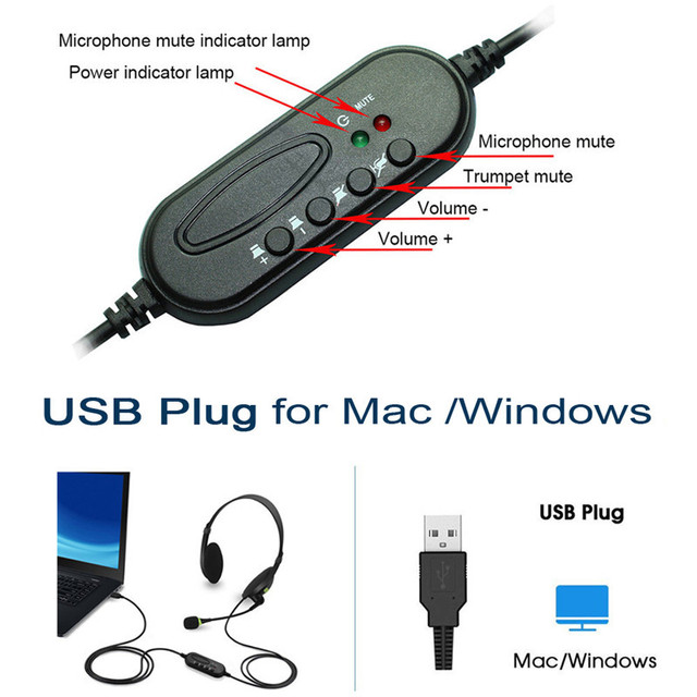kebidu 3.5mm Noise Cancelling Wired Headphones Microphone Universal USB Headset With Microphone For PC /Laptop/Computer 3